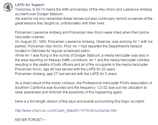 LAPD Remembers Crew Lost In 1966 Mid-Air